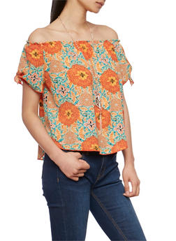 Off the Shoulder Printed Tie Sleeve Top with Necklace - 1001058756824