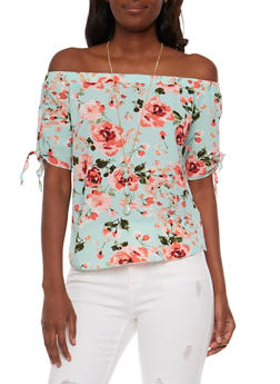 Floral Off the Shoulder Peasant Top with Necklace - 1001058756826