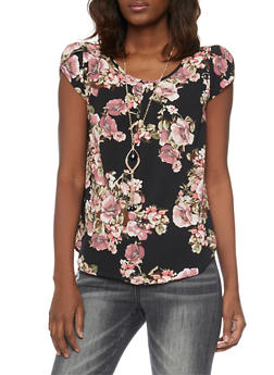 Cap Sleeve Floral Crepe Top with Necklace - 1001058756830