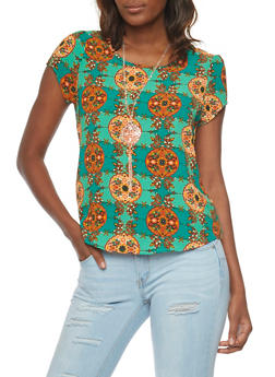 Printed Short Sleeve Top with Necklace - 1001058756831