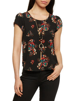 Floral Print Short Sleeve Top with Necklace - 1001058756832