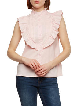 Pleated Button Front Sleeveless Top with Ruffle Detail - 1001058756838