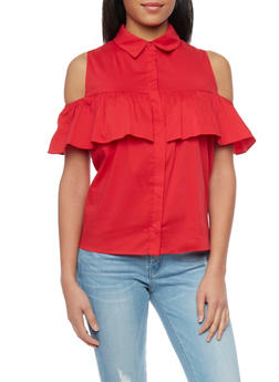 Ruffled Cold Shoulder Button Up Top - 1001058756874