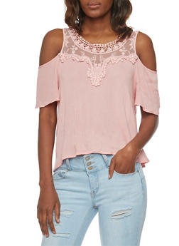 Crochet and Mesh Yoke Cold Shoulder Top - 1001058756879