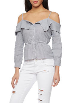 Long Sleeve Stripe Button Up Front Cold Shoulder Top - 1001058756940