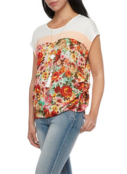 Color Block Top with Floral Panel and Necklace - 1001058756948