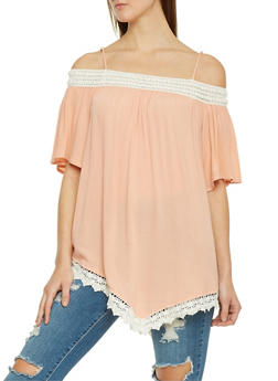 Off The Shoulder Bell Sleeve Hanky Hem Top - 1001058756973