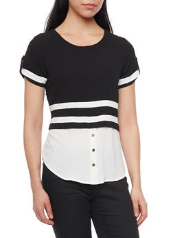 Two Tone High Low Blouse with Tab Sleeves and Button Detail - BLACK/WHITE - 1001058757021