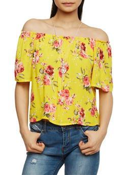 Off The Shoulder Floral Top with Necklace - 1001058757055