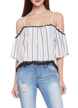 Striped Cold Shoulder PomPom Shirt - 1001058757108