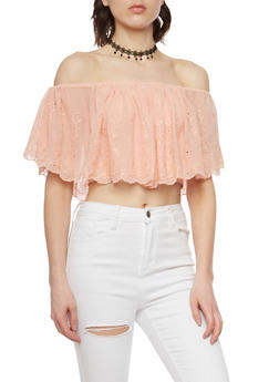 Off the Shoulder Crop Top with Eyelet Overlay and Choker - 1001058757203