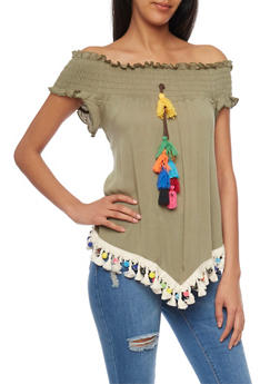 Smocked Off The Shoulder Top with Pom Pom and Tassel Details - 1001058757213