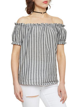 Striped Off the Shoulder Top with Puffed Sleeves - 1001058757224