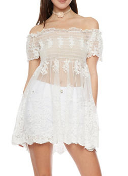 Embroidered Sheer Mesh Babydoll Top with Crochet Trim - 1001058757233