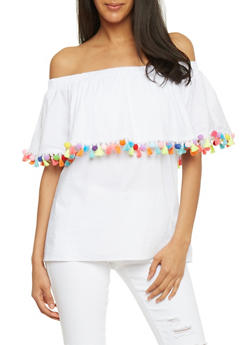 White Off The Shoulder Pompom Trim Top - 1001058757247