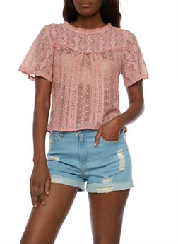 Mesh Lace Top with Back Keyhole - 1001058757250