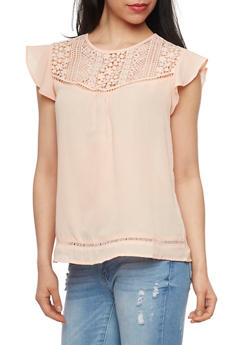 Crochet Yoke Top with Flutter Sleeves - 1001058757283