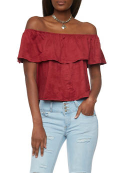 Off the Shoulder Top with Ruffle Overlay and Necklace - BURGUNDY - 1001058757285