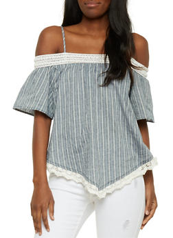Off the Shoulder Striped Top with Crochet Hanky Hem - 1001058757287