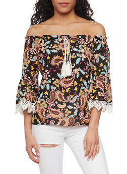 Printed Off the Shoulder Top with Crochet Detail - 1001058757317