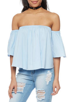 Off the Shoulder Bell Sleeve Blouse with Choker - 1001058757321