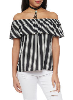Striped Off The Shoulder Top with Choker - 1001058757332