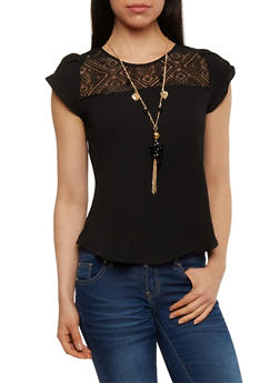 Short Sleeve Lace Yoke Top with Necklace - 1001058757333