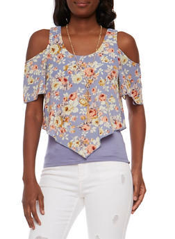 Layered Floral Cold Shoulder Top with Necklace - 1001058757345