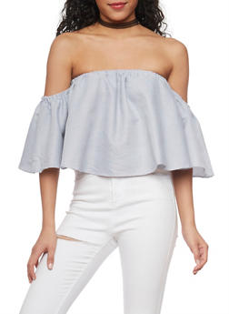Stripe Off the Shoulder Top with Flutter Sleeves - 1001058757349