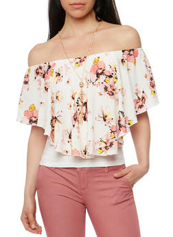Floral Off the Shoulder Crepe Knit Top with Necklace - 1001058757350