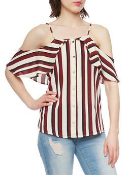 Striped Faux Button Front Crepe Knit Cold Shoulder Top - 1001058757402