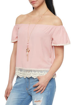 Off the Shoulder Top with Pom Pom Crochet Trim and Necklace - 1001058757403