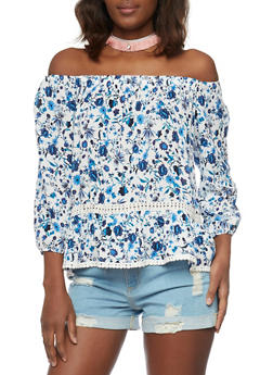 Off the Shoulder Floral Blouse with Crochet Detail - 1001058757448