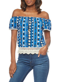 Off the Shoulder Tribal Top with Crochet Trim - 1001058757590