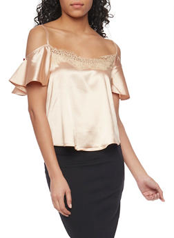 Satin Cold Shoulder Top with Flutter Sleeves - 1001058757735
