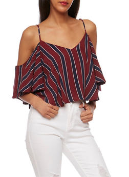 Striped Cold Shoulder Crop Top - 1001058757863