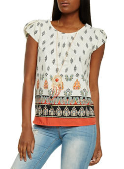 Printed Cap Sleeve Top with Necklace - 1001058757996