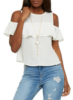 Ruffled Cold Shoulder Top with Necklace - IVORY - 1001058758016