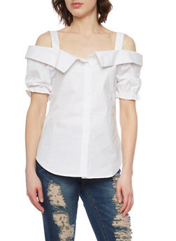 Short Sleeve Cold Shoulder Top with Puffed Sleeves - 1001058758029