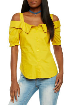 Short Sleeve Cold Shoulder Top with Puffed Sleeves - MUSTARD - 1001058758029