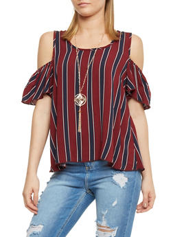Striped Short Sleeve Cold Shoulder Top with Necklace - 1001058758134