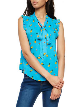 Pineapple Print Tie Neck Top - 1001058758707