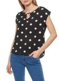 Crepe Knit Polka Dot Top - 1001058758708