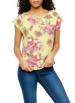 Floral Crepe Knit Caged Back Detail Top - 1001058758709
