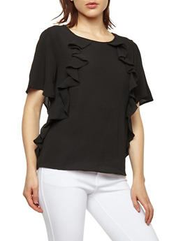 Crepe Knit Ruffle Front Top - 1001058759681