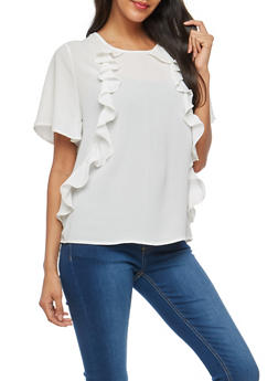 Crepe Knit Ruffle Front Top - WHITE - 1001058759681