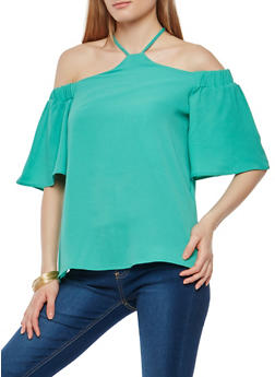 Halter Neck Off the Shoulder Top - 1001058759902