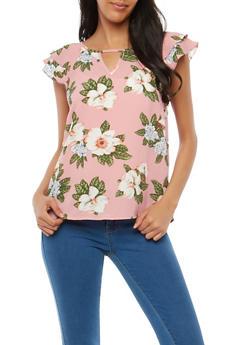Floral Crepe Knit Flutter Sleeve Top - 1001058759926