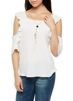 Crepe Knit Ruffled Cold Shoulder Top with Necklace - WHITE - 1001058759947