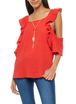 Crepe Knit Ruffled Cold Shoulder Top with Necklace - 1001058759947